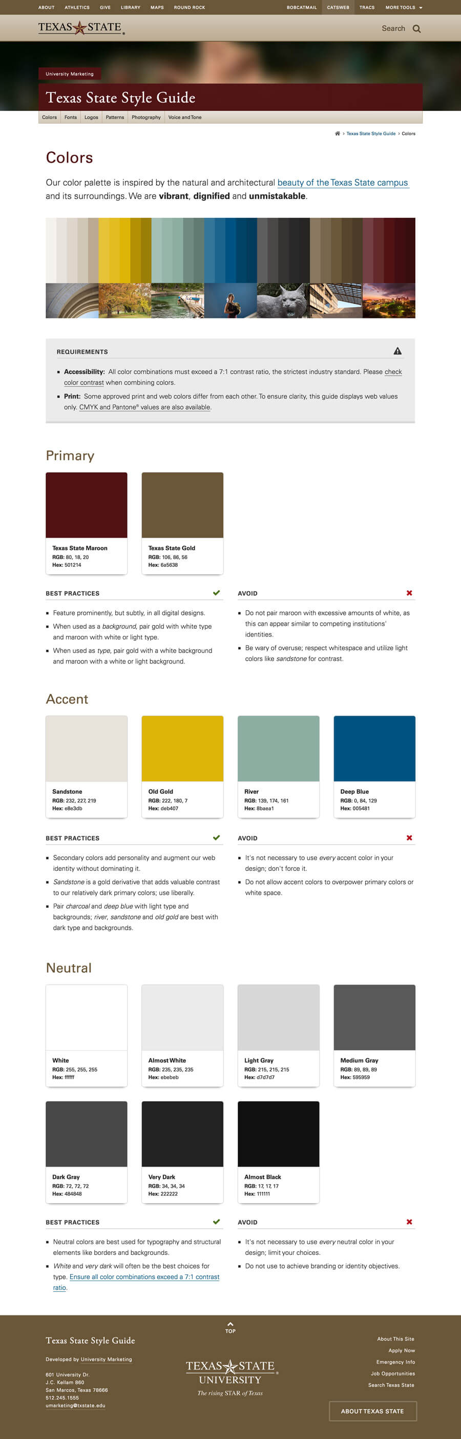 Full screen styleguide colors page