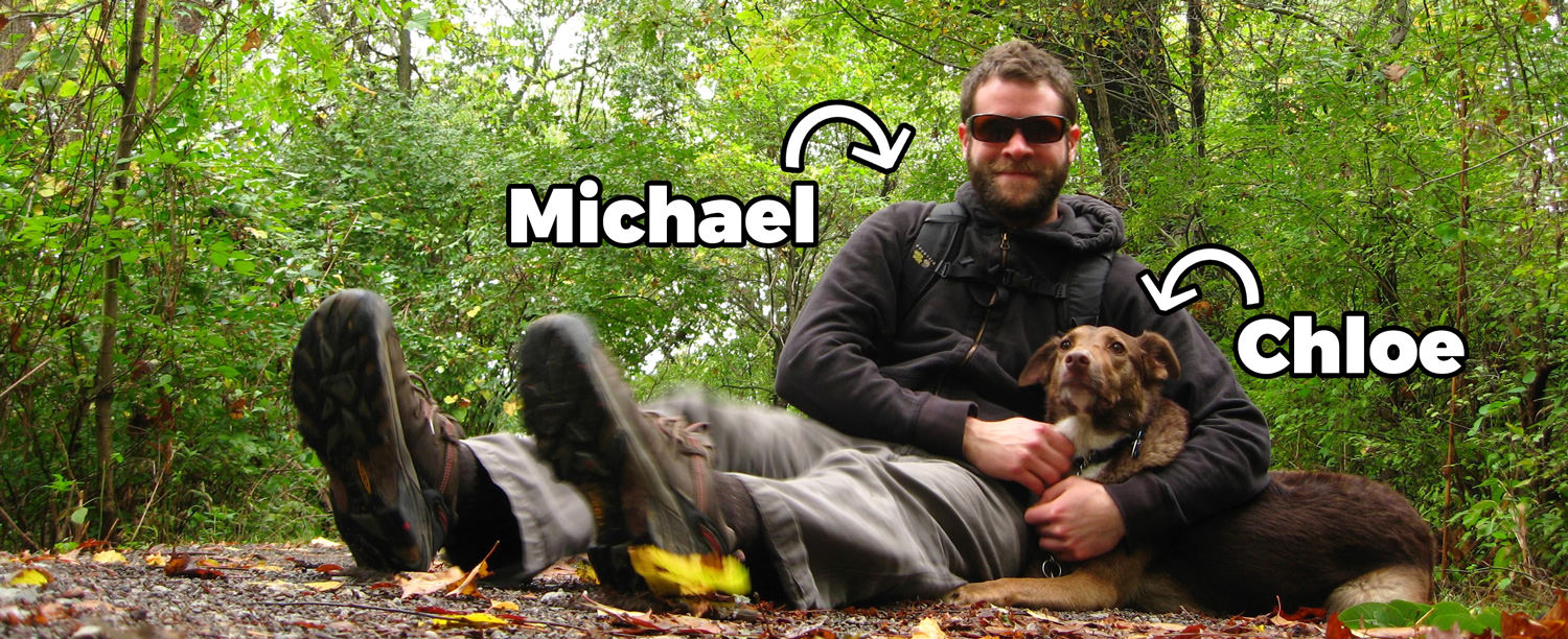 Michael and his dog, Chloe