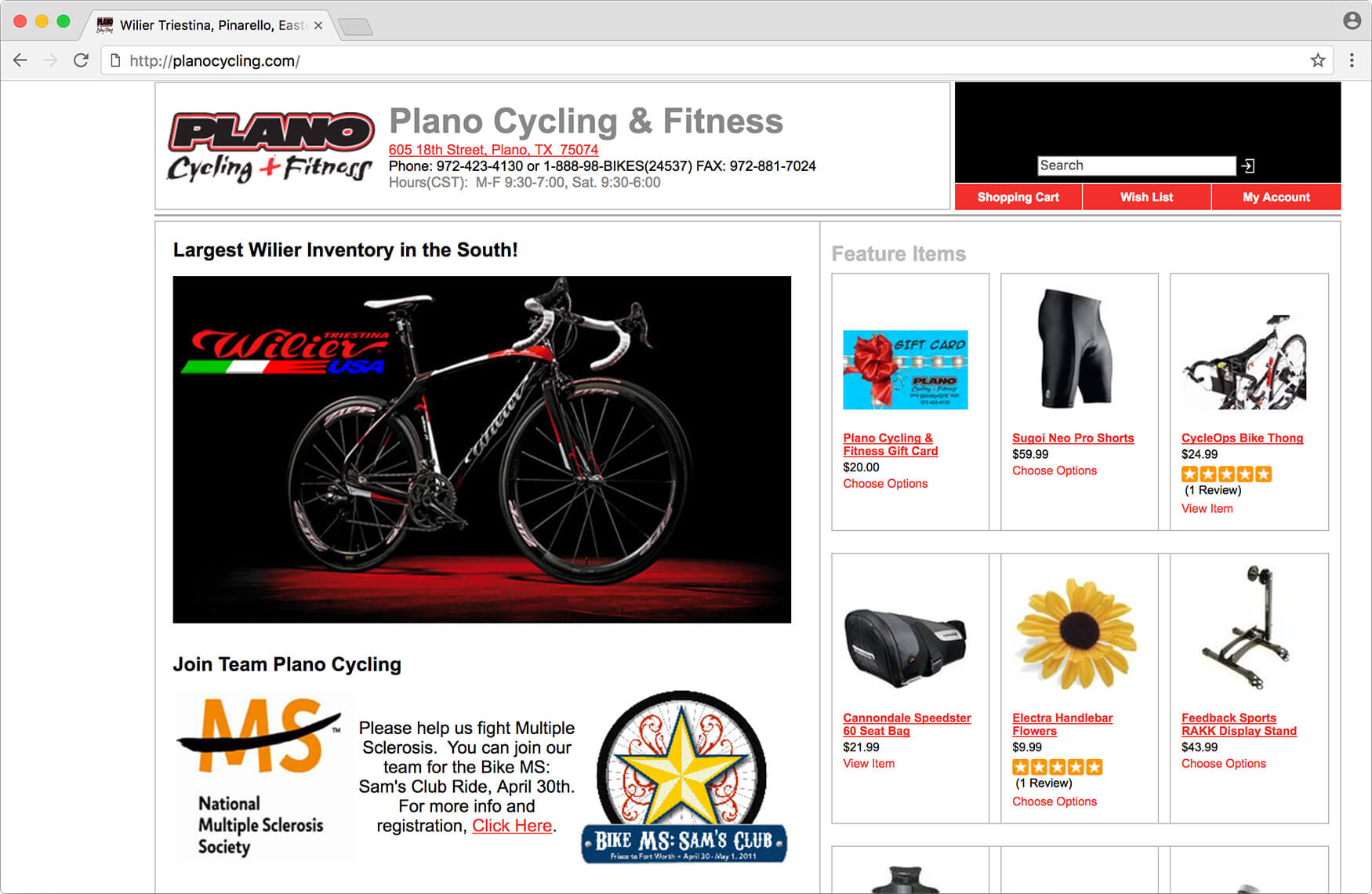Screenshot of Plano Cycling homepage in January 2013