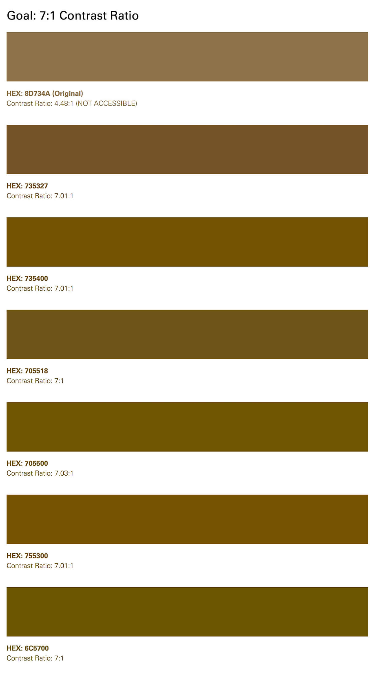 Gold color test swatches