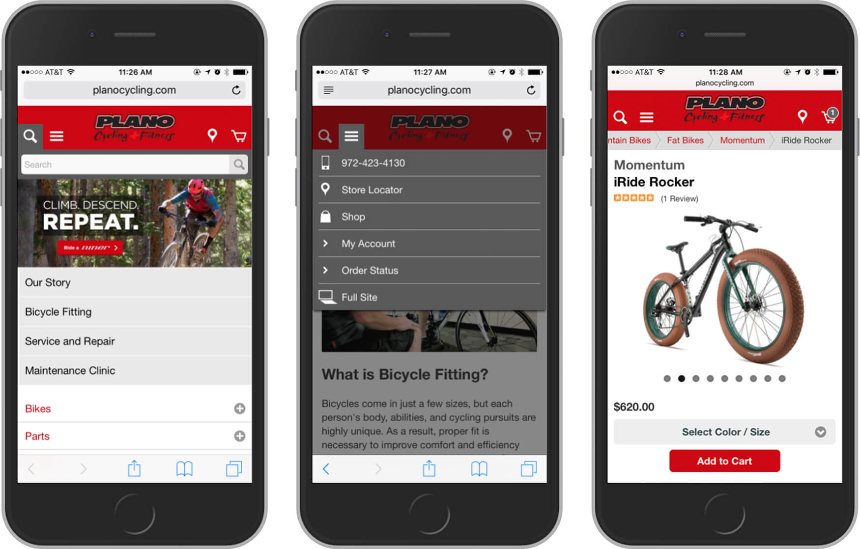 Screenshots of Plano cycling mobile website