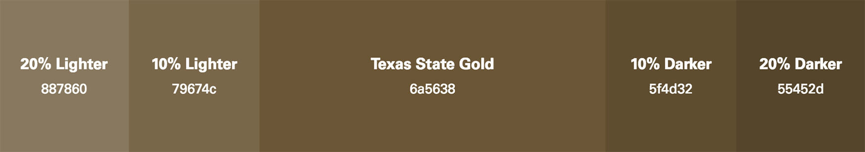 Demo showing tints and shades of Texas State Gold