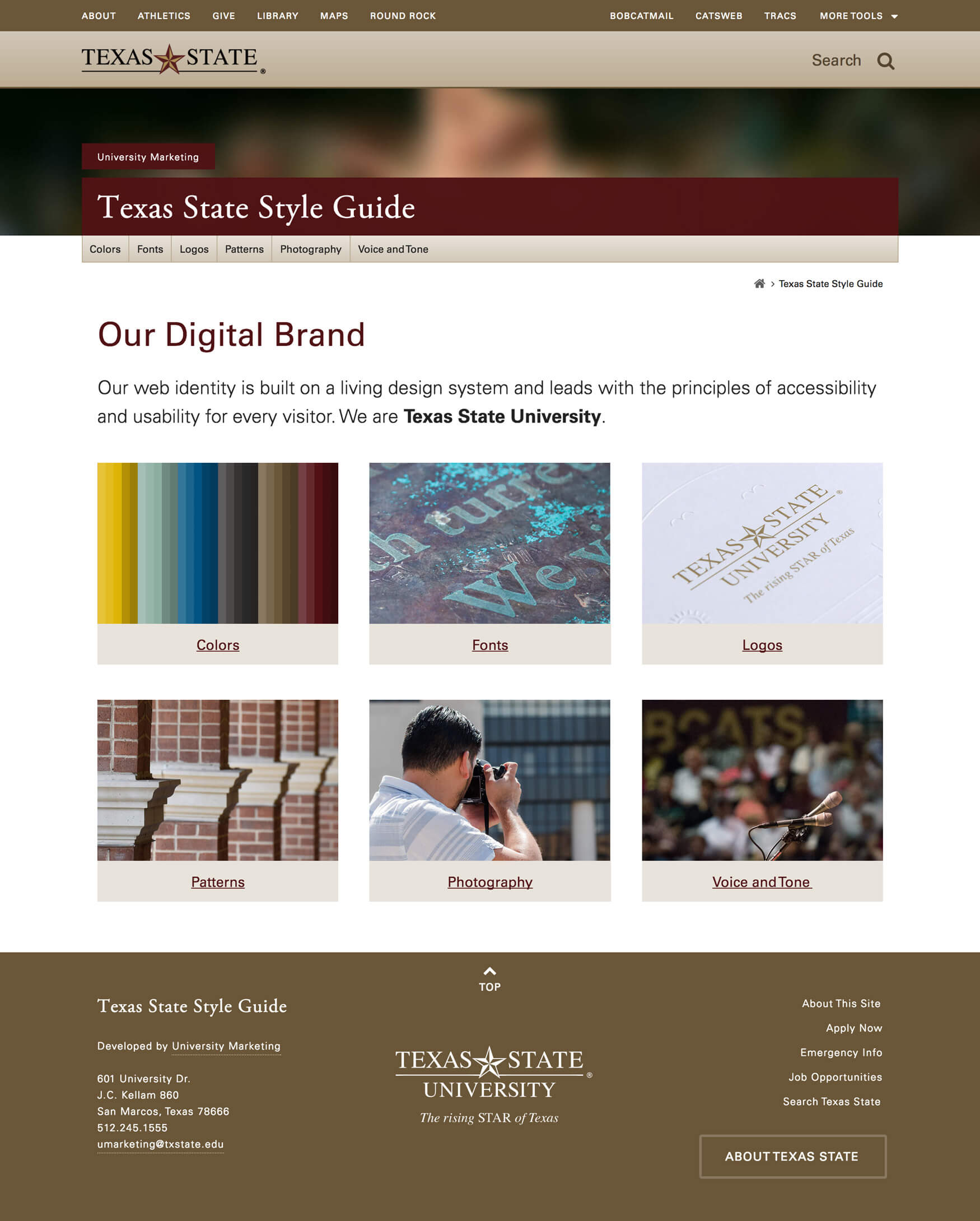 Screenshot of style guide homepage