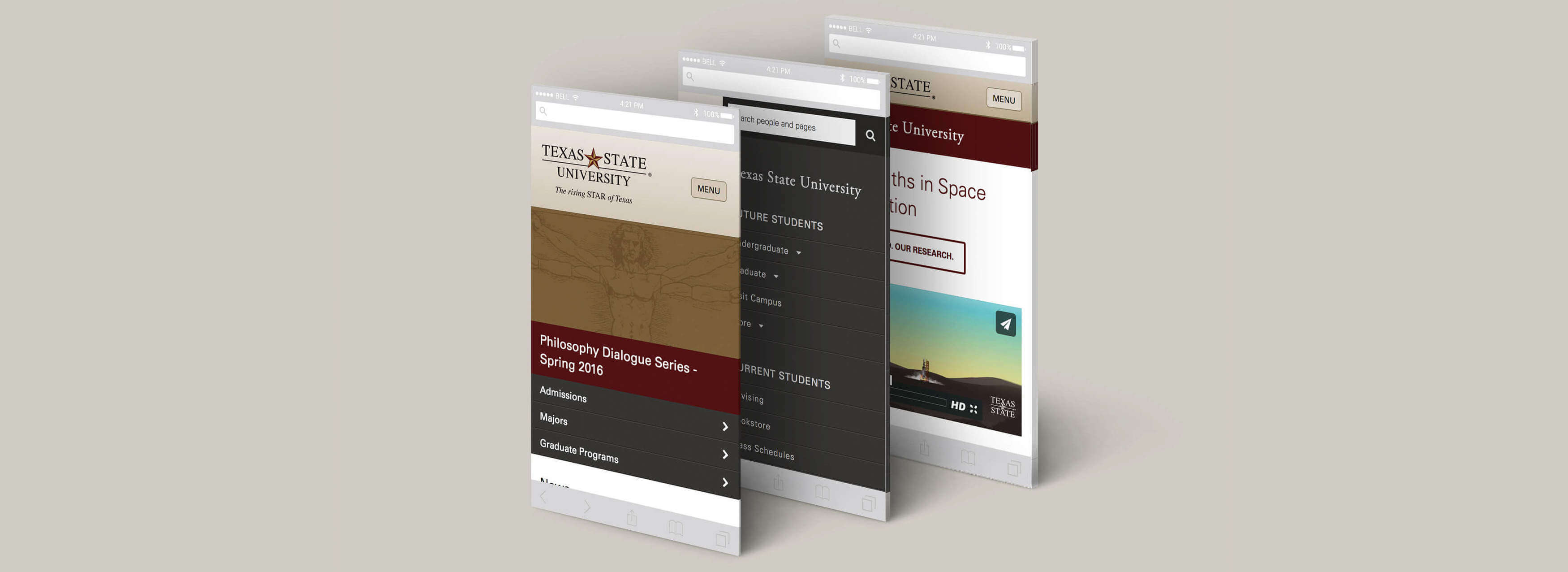 Screenshots of Texas State template, mobile view